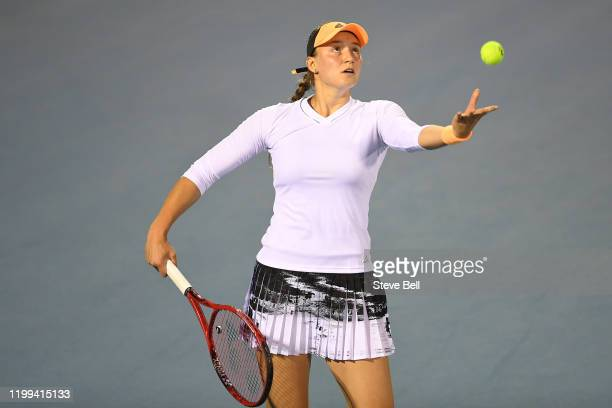 Elena Rybakina of Kazakhstan prepares to serve during her first round match against Tamara Zidensek of Slovakia on day four of the 2020 Hobart...