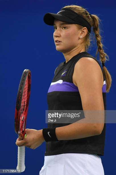 Elena Rybakina of Kazakhstan reacts during the match against Aryna Sabalenka of Belarus on Day 5 of 2019 Dongfeng Motor Wuhan Open at Optics Valley...