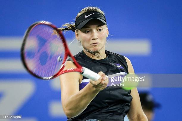 Elena Rybakina of Kazakhstan returns a shoot during the match against Aryna Sabalenka of Belarus on Day 5 of 2019 Dongfeng Motor Wuhan Open at Optics...