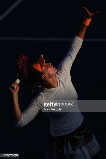 Elena Rybakina of Kazakhstan serves during her semi final singles match against Heather Watson of Great Britain during day seven of the 2020 Hobart...