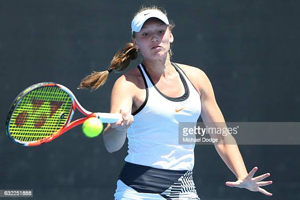 Elena Rybakina of Russia competes in her first round match against Yang Lee of Taipei during the Australian Open 2017 Junior Championships at...
