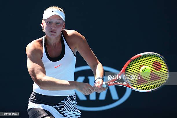Elena Rybakina of Russia plays a backhand in her junior girls semifinal match against Marta Kostyuk of the Ukraine during the Australian Open 2017...