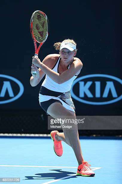 Elena Rybakina of Russia plays a forehand in her first round match against Yang Lee of Taipei during the Australian Open 2017 Junior Championships at...
