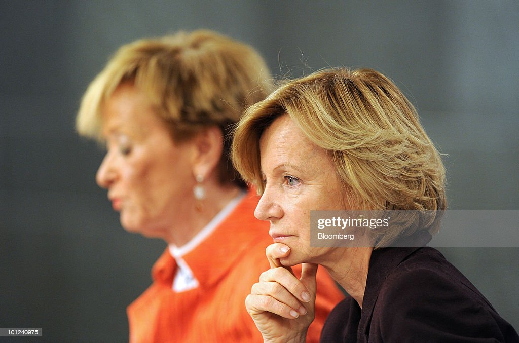 Elena Salgado, Spain's economy minister, right, and Maria Teresa Fernandez de la Vega, Spain's vice president, listen during a news conference at the Palacio de la Moncloa in Madrid, Spain, on Friday, May 28, 2010. The restructuring of the Spanish savings bank industry can be completed by the end of June, Salgado said today in Madrid. Photographer: Denis Doyle/Bloomberg via Getty Images