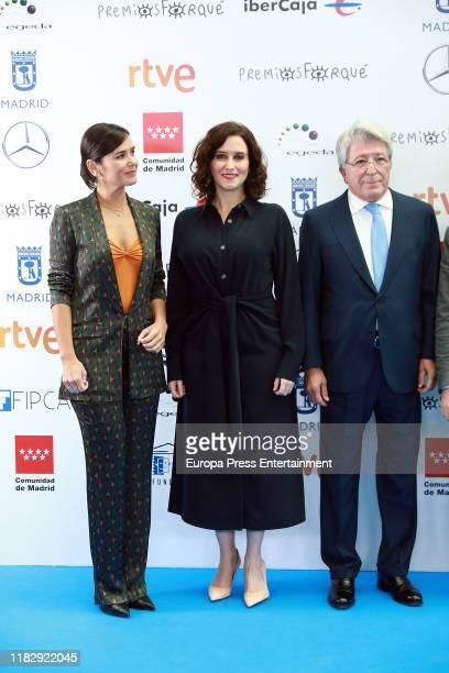Elena Sanchez Isabel Diaz Ayuso and Enrique Cerezo attend the Jose Maria Forque Awards presentation on October 23 2019 in Madrid Spain