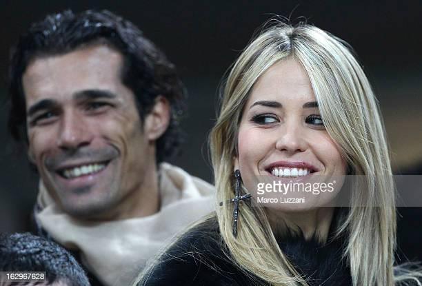 Elena Santarelli and Bernardo Corradi before the Serie A match between AC Milan and S.S. Lazio at San Siro Stadium on March 2, 2013 in Milan, Italy.