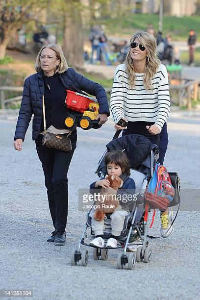 Elena Santarelli and her son Giacomo are seen on March 13 2012 in Milan Italy