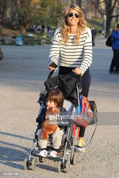 Elena Santarelli and her son Giacomo are seen on March 13, 2012 in Milan, Italy.