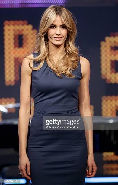 Elena Santarelli attends Chiambretti Night Italian TV Show held at Mediaset Studios on January 23 2011 in Milan Italy