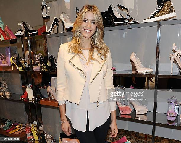 Elena Santarelli attends Le Silla Press Day as part of Milan Fashion Week Womenswear S/S 2013 on September 22, 2012 in Milan, Italy.