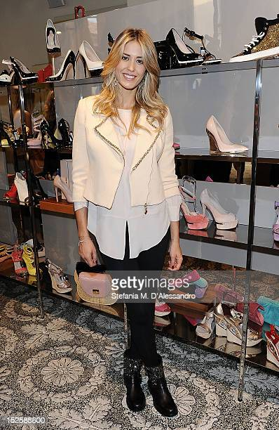 Elena Santarelli attends Le Silla Press Day as part of Milan Fashion Week Womenswear S/S 2013 on September 22 2012 in Milan Italy