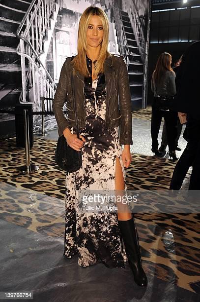 Elena Santarelli attends tbe Just Cavalli Autumn/Winter 2012/2013 fashion show as part of Milan Womenswear Fashion Week on February 24 2012 in Milan...