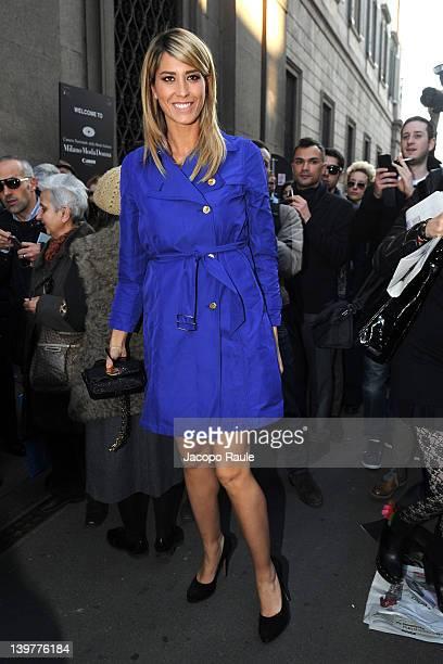 Elena Santarelli attends the Blumarine Autumn/Winter 2012/2013 fashion show as part of Milan Womenswear Fashion Week on February 24 2012 in Milan...