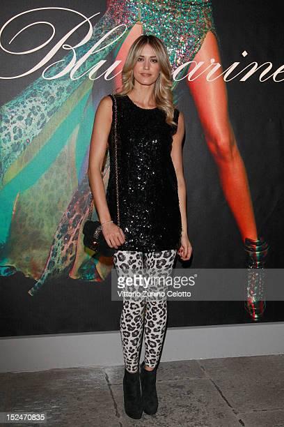 Elena Santarelli attends the Blumarine Spring/Summer 2013 fashion show as part of Milan Womenswear Fashion Week on September 21 2012 in Milan Italy