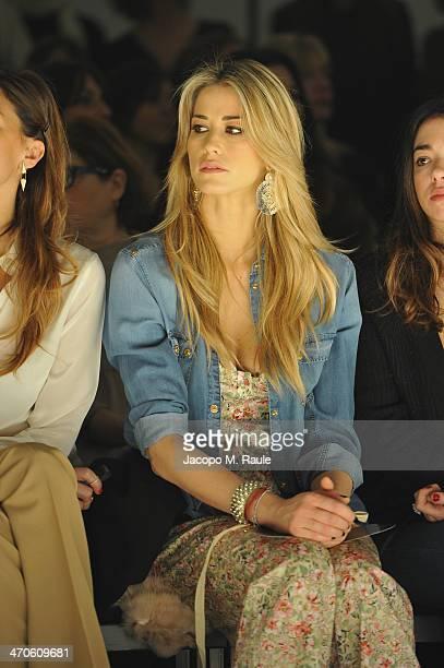 Elena Santarelli attends the Kristina Ti Show as part of Milan Fashion Week Womenswear Autumn/Winter 2014 on February 20 2014 in Milan Italy