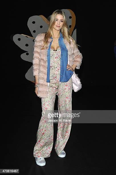 Elena Santarelli attends the Kristina Ti Show as part of Milan Fashion Week Womenswear Autumn/Winter 2014 on February 20, 2014 in Milan, Italy.