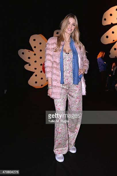 Elena Santarelli attends the Kristina Ti Show during Milan Fashion Week Womenswear Autumn/Winter 2014 on February 20 2014 in Milan Italy