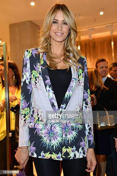 Elena Santarelli attends the new Just Cavalli boutique opening party as part of Milan Womenswear Fashion Week on September 21 2012 in Milan Italy