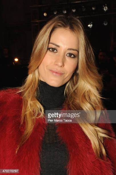 Elena Santarelli attends the Simonetta Ravizza Show during Milan Fashion Week Womenswear Autumn/Winter 2014 on February 19, 2014 in Milan, Italy.