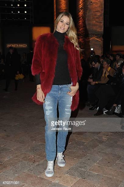 Elena Santarelli attends the Simonetta Ravizza Show during Milan Fashion Week Womenswear Autumn/Winter 2014 on February 19 2014 in Milan Italy