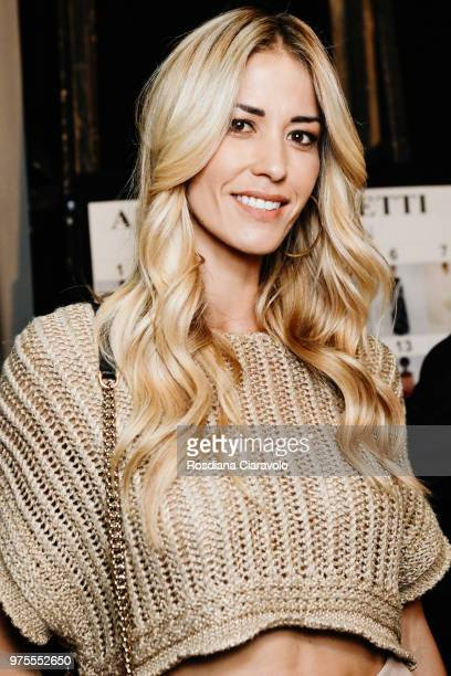 Elena Santarelli is seen backstage ahead of the Alberta Ferretti show during Milan Men's Fashion Week Spring/Summer 2019 on June 15, 2018 in Milan,...