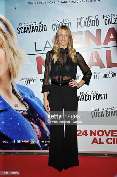 Elena Santarelli walks a red carpet for 'La Cena Di Natale' on November 22 2016 in Rome Italy