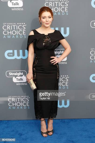 Elena Satine attends the 23rd Annual Critics' Choice Awards at Barker Hangar on January 11 2018 in Santa Monica California
