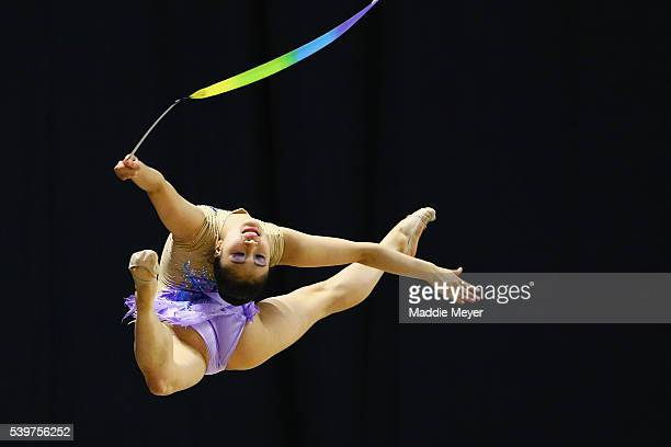 Elena Shinohara performs with the ribbon during 2016 USA Gymnastics Championships Day 3 on June 12 2016 in Providence Rhode Island