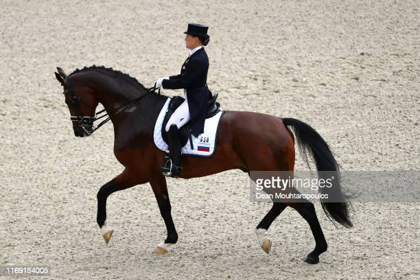 Elena Sidneva of Russia riding Fuhur 6 competes during Day 2 of the Dressage Grand Prix Team Competition at the Longines FEI European Championship...