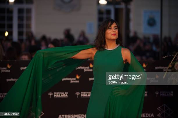 Elena Sánchez poses on the red carpet outside of the Cervantes Theatre during the 21th International Malaga Film Festival in Malaga