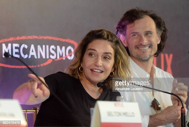 Elena Soarez and Enrique Diaz speak during the press conference for the new Netflix series O Mecanismo at the Belmond Copacabana Palace Hotel on...