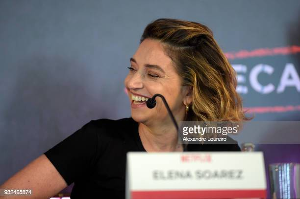 Elena Soarez speaks during the press conference for the new Netflix series O Mecanismo at the Belmond Copacabana Palace Hotel on March 15 2018 in Rio...