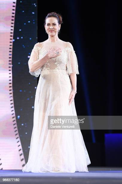 Elena Sofia Ricci is awarded during the Nastri D'Argento Award Ceremony on June 30 2018 in Taormina Italy