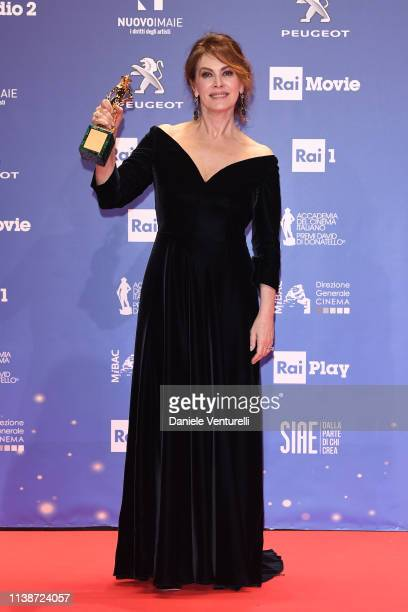 Elena Sofia Ricci poses with the best actress award during the 64 David Di Donatello Award Ceremony on March 27 2019 in Rome Italy
