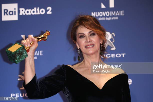 Elena Sofia Ricci poses with the Best Actress Award in the winners room at the 64 David Di Donatello Award Ceremony on March 27 2019 in Rome Italy