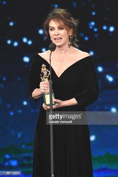 Elena Sofia Ricci receives the best main actress award during the 64 David Di Donatello Award Ceremony on March 27 2019 in Rome Italy