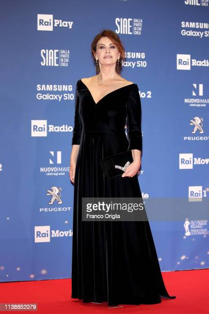 Elena Sofia Ricci walks a red carpet ahead of the 64 David Di Donatello awards ceremony Red Carpet on March 27 2019 in Rome Italy