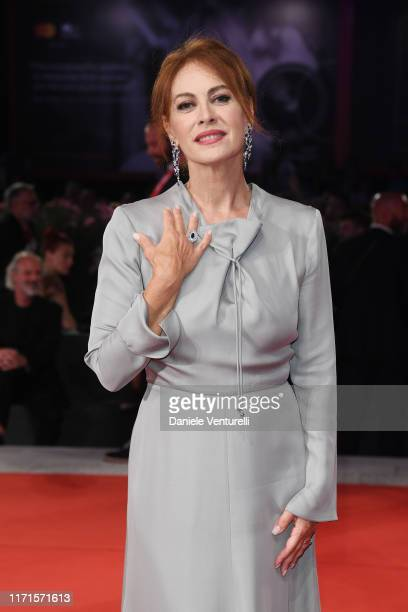 Elena Sofia Ricci walks the Filming In Italy red carpet during the 76th Venice Film Festival at Sala Grande on September 01, 2019 in Venice, Italy.