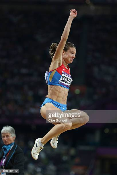 Elena Sokolova of Russia competes in the Women's Long Jump Final on Day 12 of the London 2012 Olympic Games at Olympic Stadium on August 8 2012 in...