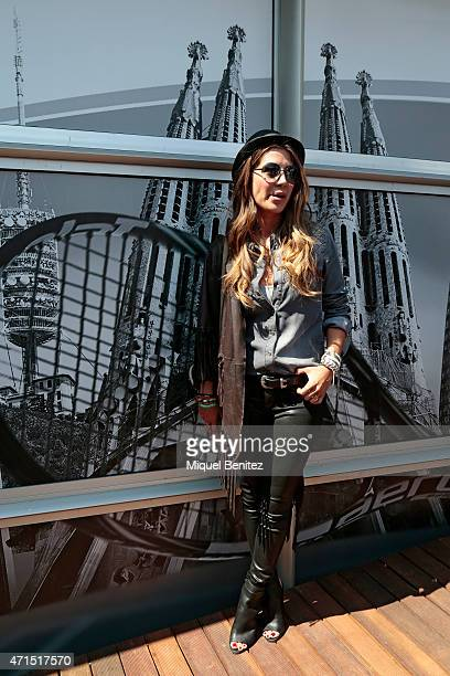 Elena Tablada wears a ETNA's set hat jacket and grey shirt a Supertrash trousers and shoes and a Celine handbag during the 63th Barcelona Open Banc...