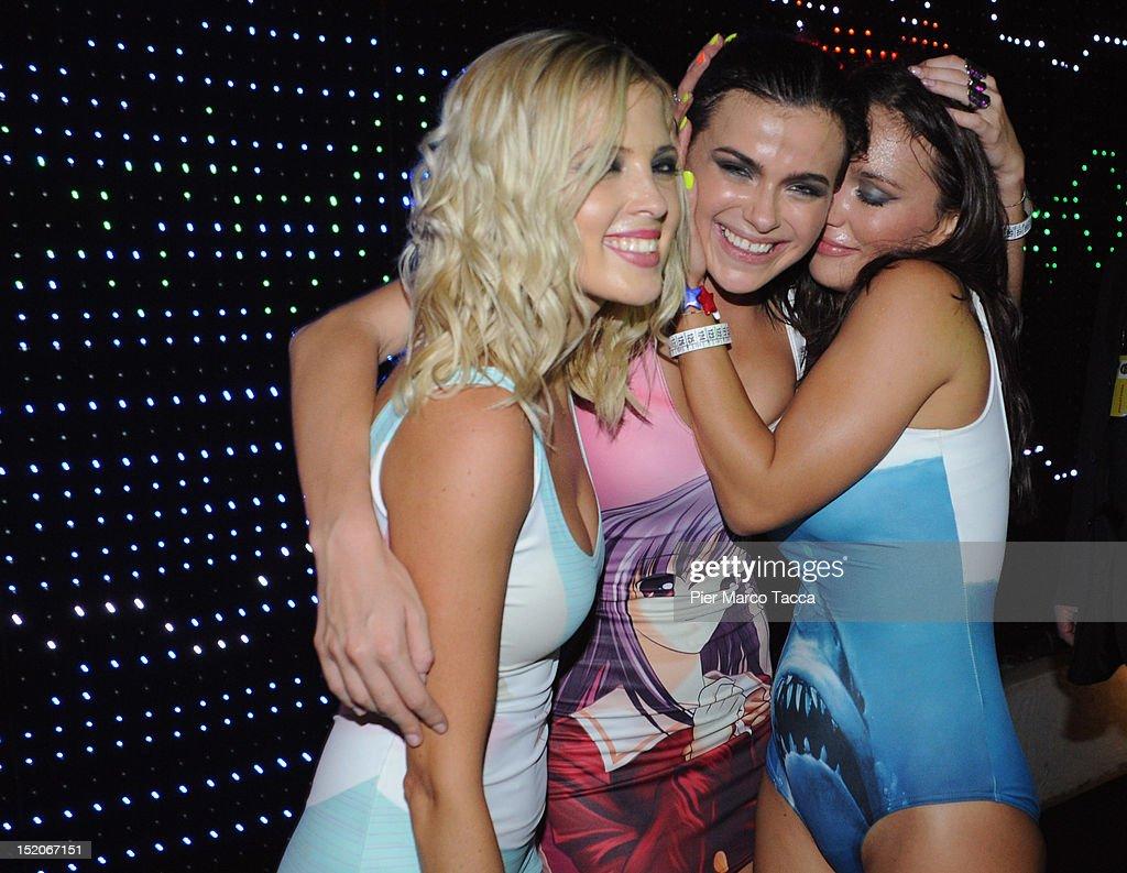 Elena Temnikova, Olya Serebkina and Marina Lizorkina of Russia's group Serebro perform at Le Rotonde discotheque on September 15, 2012 in Garlasco, Italy.