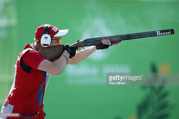 Elena Tkach of Russia shoots in the Mixed Team Trap final against Russia during day six of the Baku 2015 European Games at the Baku Shooting Centre...