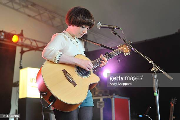 Elena Tonra of British Nu-Folk band Daughter performs on stage during day two of Reading Festival 2011 at Richfield Avenue on August 27, 2011 in...