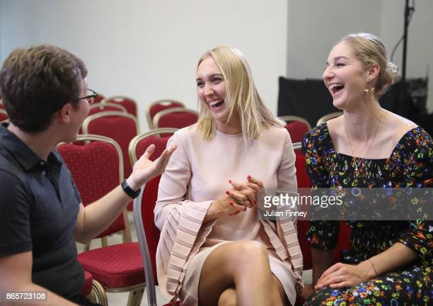 Elena Vesnina and Ekaterina Makarova of Russia are interviewed during day 3 of the BNP Paribas WTA Finals Singapore presented by SC Global at...