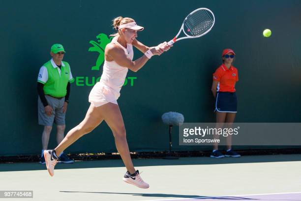 Elena Vesnina in action on Day 5 of the Miami Open Presented at Crandon Park Tennis Center on March 23 in Key Biscayne FL