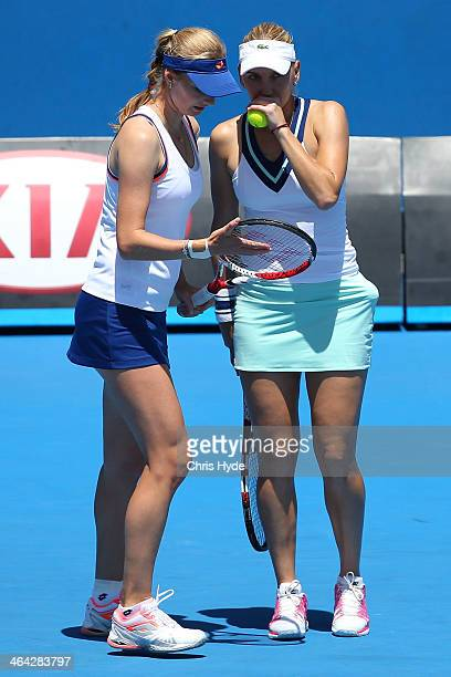 Elena Vesnina of Russia and and Ekaterina Makarova of Russia in action in their quarterfinal doubles match against Raquel KopsJones of the United...