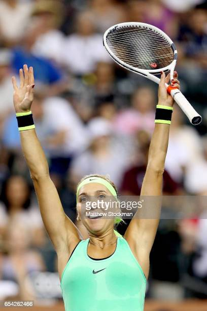 Elena Vesnina of Russia celebrates match point against Venus Williams during the BNP Paribas Open at the Indian Wells Tennis Garden on March 16 2017...