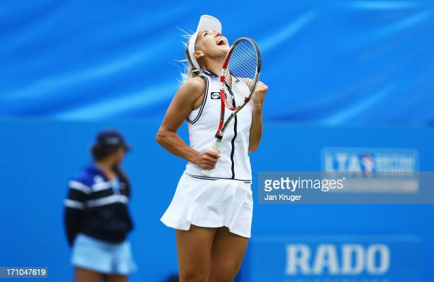 Elena Vesnina of Russia celebrates victory in her women's singles semi final match against Yanina Wickmayer of Belgium during day seven of the AEGON...
