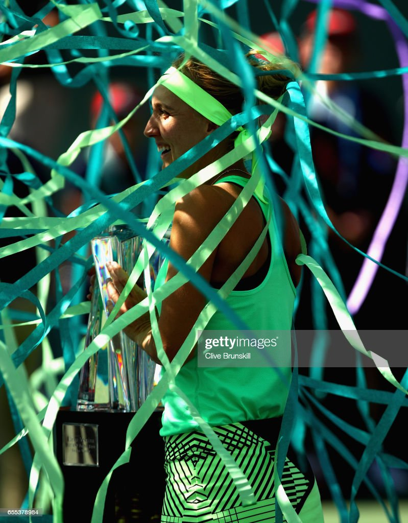 Elena Vesnina of Russia holds the BNP Paribas Open trophy after her three set victory against Svetlana Kuznetsova of Russia in the womens final during day fourteen of the BNP Paribas Open at Indian Wells Tennis Garden on March 19, 2017 in Indian Wells, California.