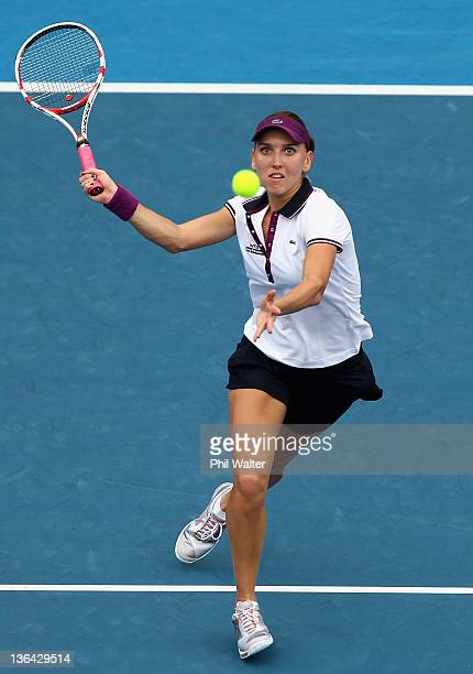 Elena Vesnina of Russia plays a forehand in her match against Flavia Pennetta of Italy during day four of the 2012 ASB Classic at the ASB Tennis...